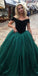 Off the Shoulder Teal green Ball Gown Long Prom Dresses, SG121