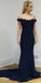 Navy Off the Shoulder Elegant Cheap Long Prom Bridesmaid Dresses, SG122