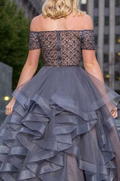 Elegant Off the Shoulder Grey Beaed Tulle Long Prom Dresses, SG111