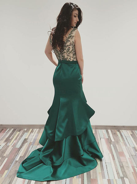 Beaded Top V-Neck Mermaid Unique Long Prom Dresses, SG130