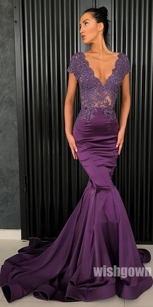 V Neck Mermaid Cap Sleeves Applique Lace Long Prom Dresses, MD1137
