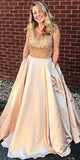 Beaded Top A Line Sleeveless Round Neck Long Prom Dresses, SG137