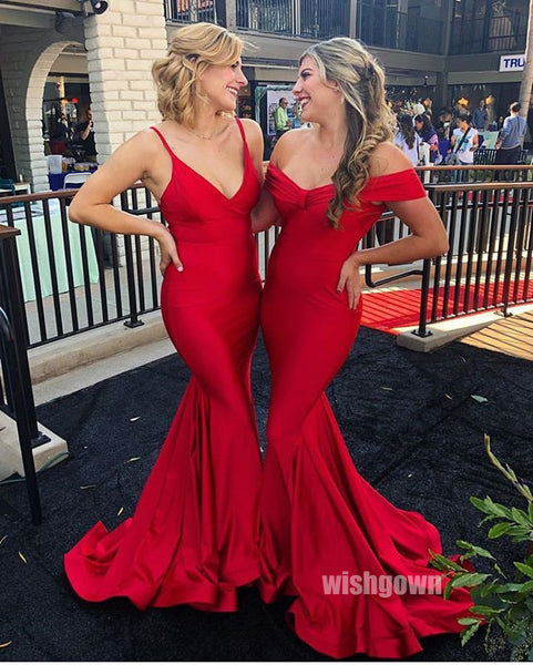 Red Mermaid Mismatched Wedding Bridesmaids Long Prom Dresses, MD1102