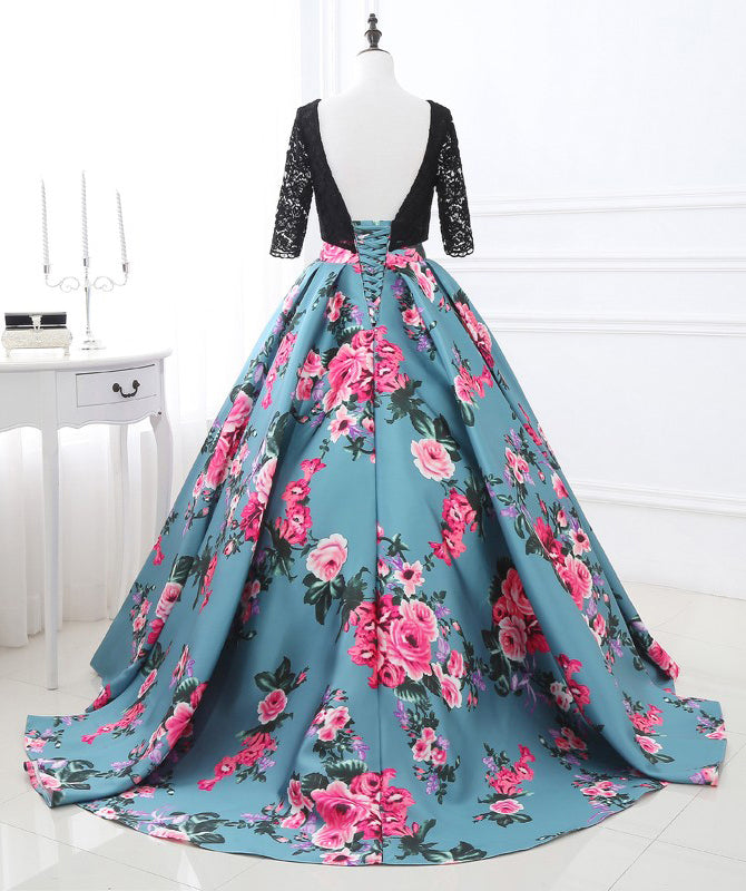 Half Sleeves Black Lace Satin Flowers Long Prom Dresses, SG132