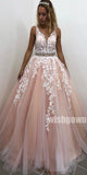 Popular A-line Applique Tulle Long Prom Dresses PG1123