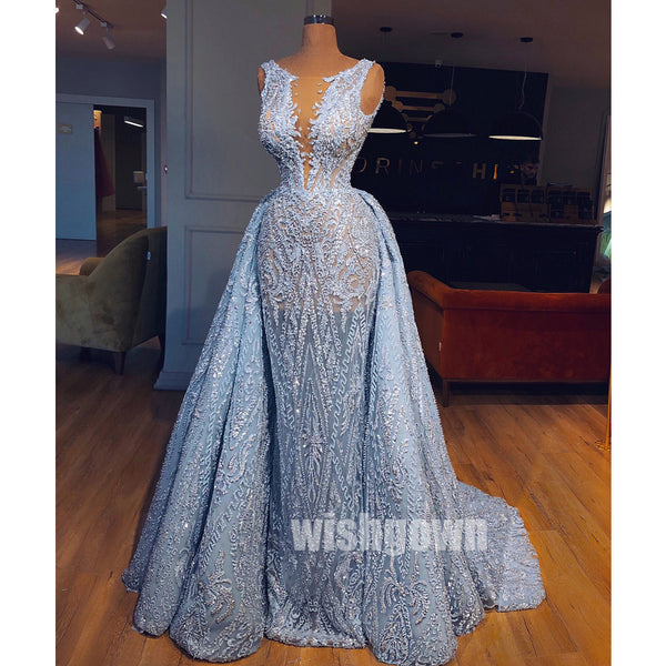 Unique Applique Lace Blue Long Prom Dresses PG1168