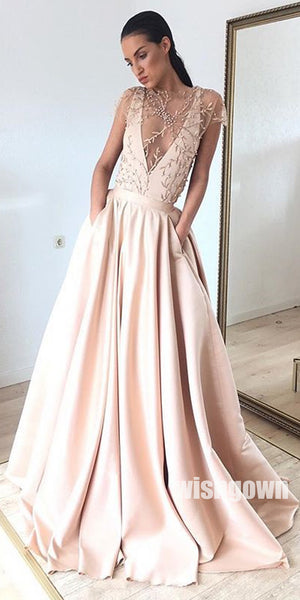 Unique A Line See Through Deep V Neck Long Prom Dresses, MD1140