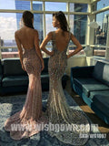 Popular Sexy Mermaid Beaded Seen Through Open Back Long Prom Dresses, WG1097