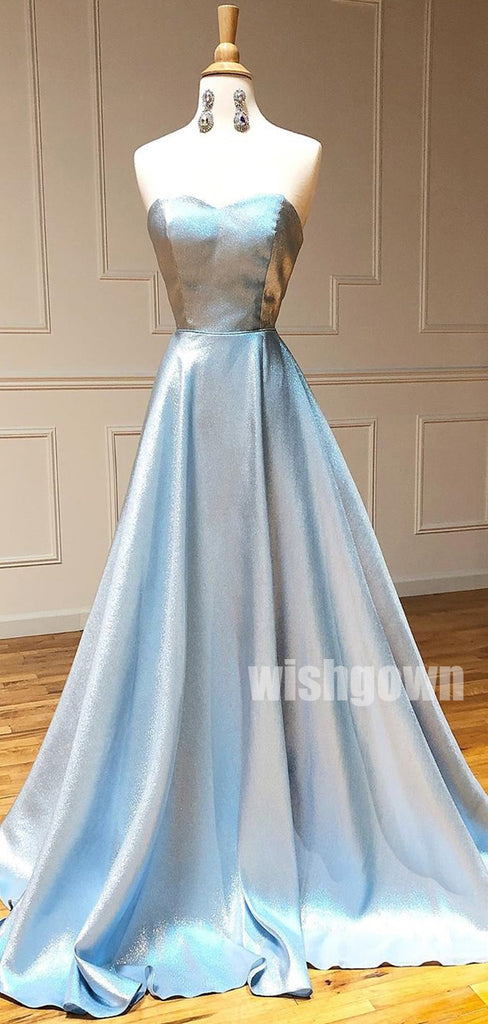 Sweetheart A-line Light Blue Long Prom Dresses PG1142