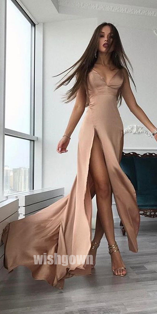 Popular Sexy Simple Side Slits Cheap Long Prom Dresses, MD1110