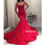 Red Spaghetti Strap Mermaid Sweetheart Long Prom Dresses PG1145
