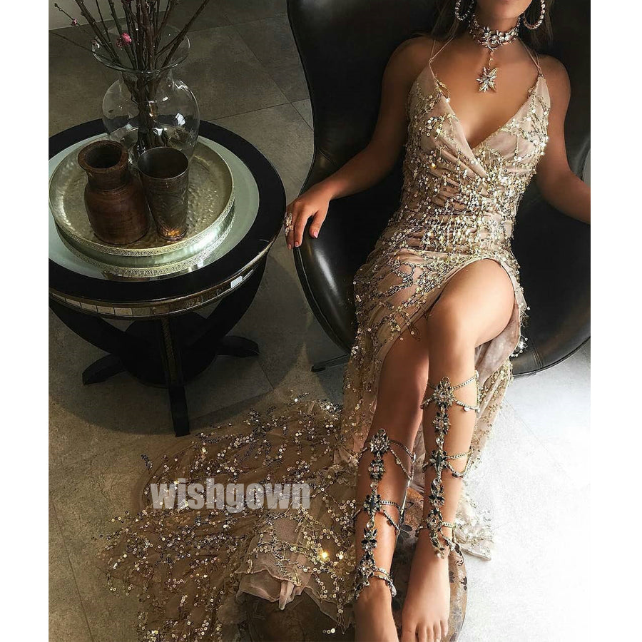 Beading Sparkle Side Slit Long Prom Dresses PG1113