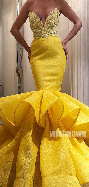 Yellow Lace Mermaid Sweetheart Long Prom Dresses PG1130