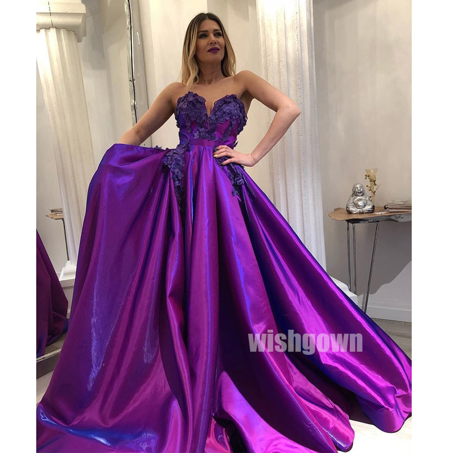 Sweetheart A-line Purple Long Prom Dresses PG1131