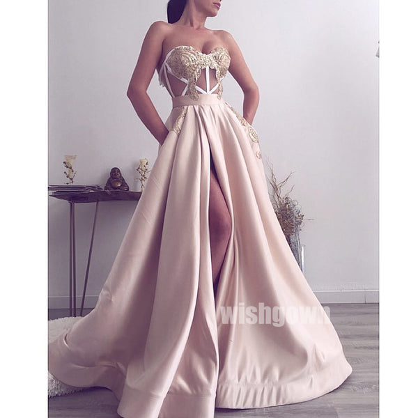 A-line Side Split Seen-through Long Prom Dresses PG1133