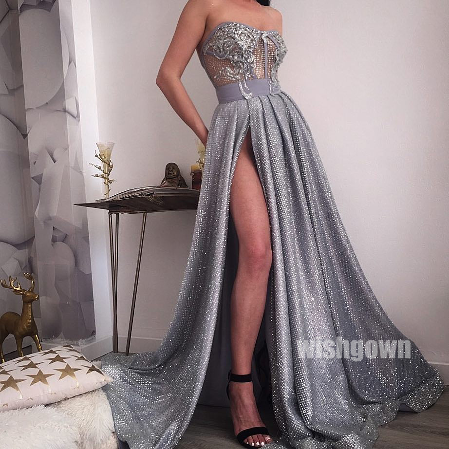 Sparkle A-line Side Split Seen-through Long Prom Dresses PG1134