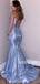 Blue Spaghetti Strap Mermaid Long Prom Dresses PG1147
