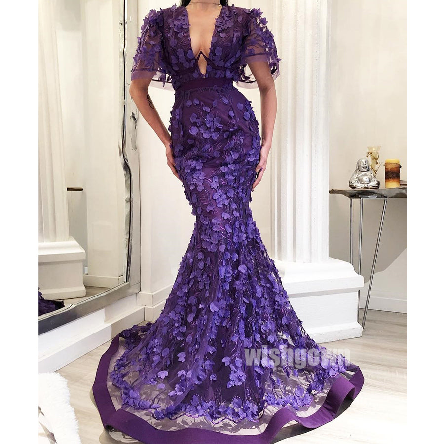 Short Sleeves Purple Mermaid Applique Long Prom Dresses PG1136