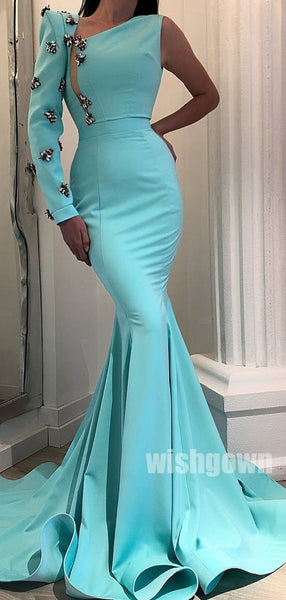 One Shoulder Long Sleeves Mermaid Long Prom Dresses PG1137