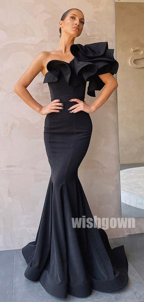 One Shoulder Black Mermaid Long Prom Dresses PG1139
