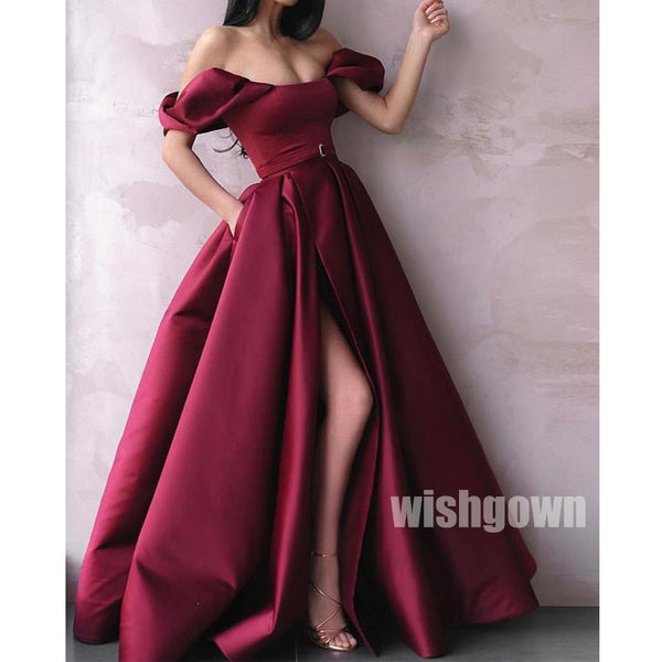 Off the Shoulder Side Split Long Prom Dresses PG1140