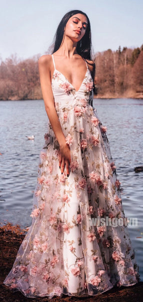 A-line Spaghetti Strap Flower Applique Long Prom Dresses PG1148