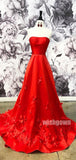 Red A-line Simple Cheap Long Prom Dresses PG1152