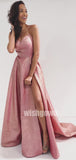 A-line Side Split Spaghetti Strap Long Prom Dresses PG1159