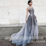 Charming Sparkle Affordable Tulle Beading Evening Long Prom Dresses, WG1094 - Wish Gown
