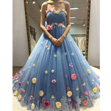 Charming Flowers Tulle Blue Sweetheart Affordable Long Prom Dresses, WG282 - Wish Gown