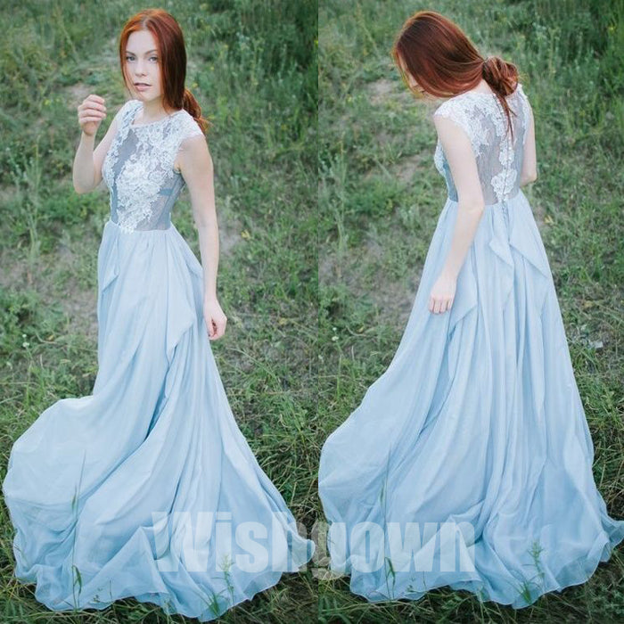 Cheap Formal Chiffon Blue Elegant Long Evening Prom Dresses, WG1072