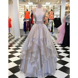 Popular Two Pieces Formal A Line Cheap Evening Long Prom Dress, PD0153