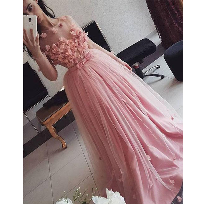 Charming Pink Tulle Applique Formal Cheap Simple Long Prom Dress, WG65 - Wish Gown