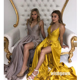 Formal A Line Side Slit Simple Cheap Long Bridesmaid Prom Dresses, MD1127