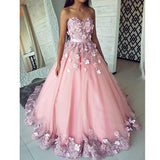 Pink Pretty Flowers Sweetheart Cheap Long Evening Prom Dresses, WG1023