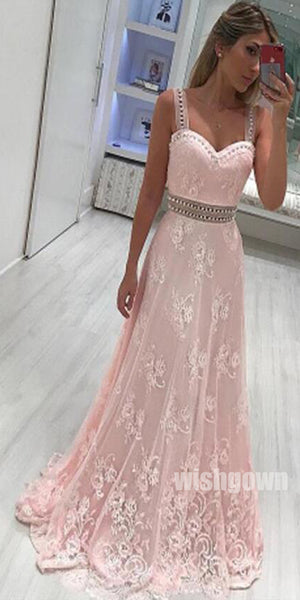 Spaghetti Strap Sweetheart Pink A Line Prom Dresses, SG146