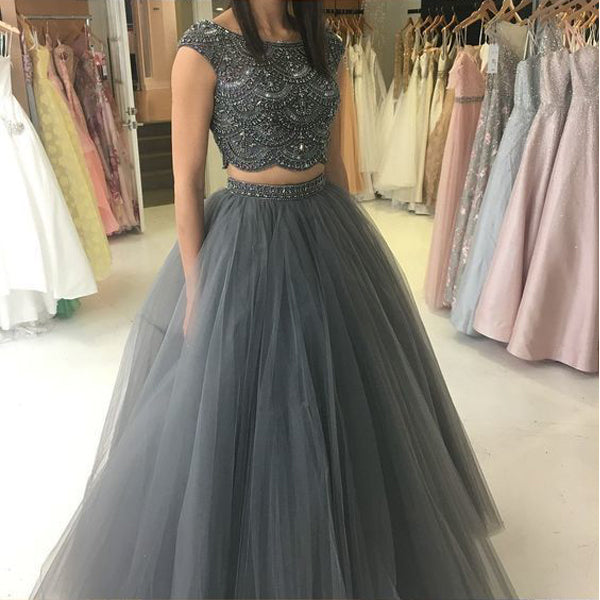 2 Pieces Open Back Cap Sleeves Beaded Gray Cheap Long Prom Dresses, WG779 - Wish Gown