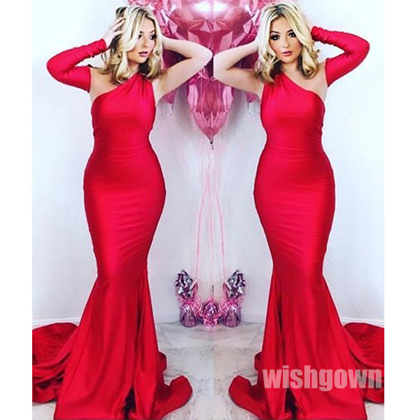 Red One Shoulder Mermaid Most Popular Long Prom Dresses, MD1101