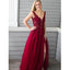Burgundy V Neck Side Slit Beaded Tulle Long Prom Dresses, SG136