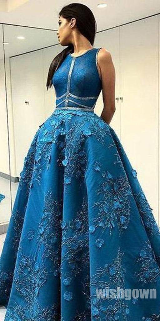 Unique Applique Formal A Line Elegant Expensive Long Prom Dresses, SG138
