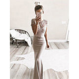 Charming Cap Sleeves Fashion Mermaid Gorgeous Long Prom Dresses, WG1005 - Wish Gown
