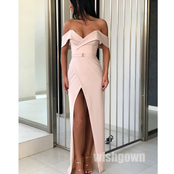 Off the Shoulder Side Slit Simple Cheap Long Prom Dresses, MD1138