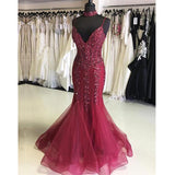 Burgundy Mermaid Sexy Beaded Cheap Long Evening Prom Dresses, WG1019 - Wish Gown