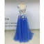 On Sale Cap Sleeve A Line Tulle Long Prom Dress, RTG004