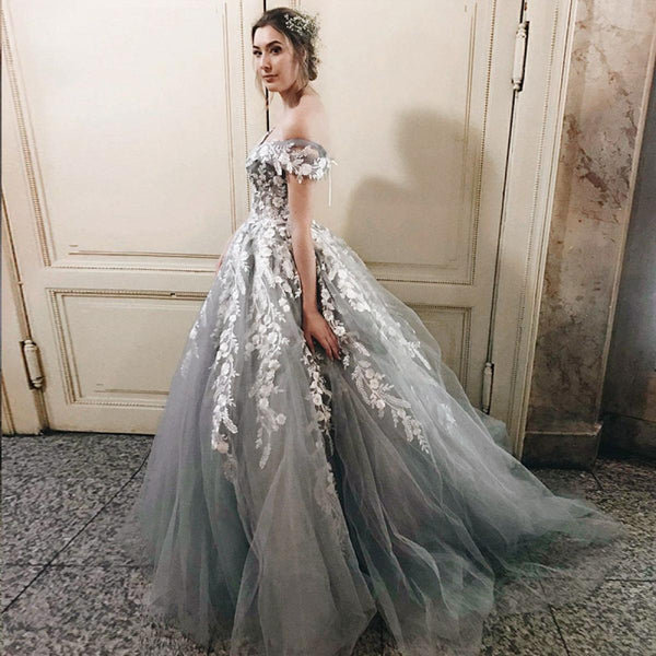 4a66f263a9 Off the Shoulder Tulle Applique Charming Cheap Long Evening Prom Dress –  Wish Gown
