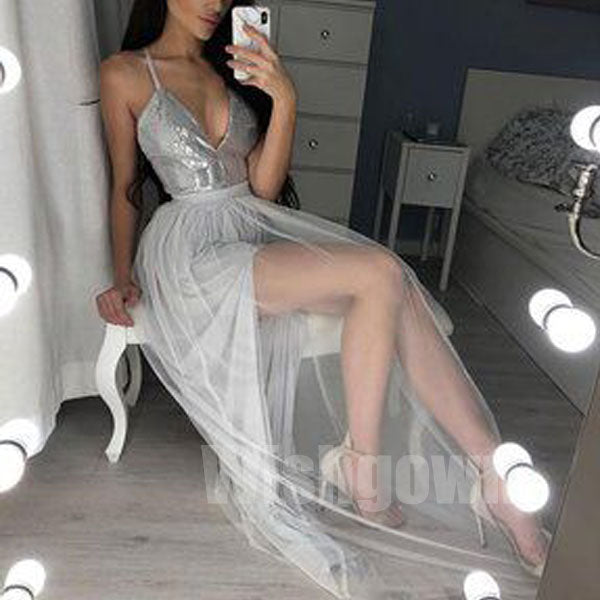 Popular Backless Sequin Top Formal Sexy Cheap Long Prom Dresses, WG1069