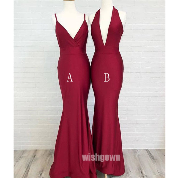 Mermaid Sexy Burgundy Wedding Party Long Bridesmaid Dresses, MD1105