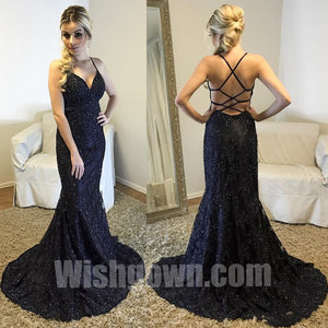 Black Lace Open Back Sexy Mermaid Cheap Long Prom Dresses, WG1090