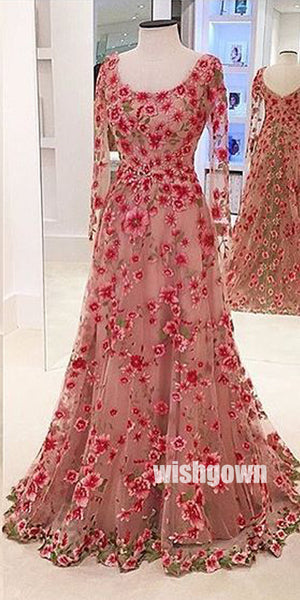 Most Popular Long Sleeves Formal A Line Cheap Flowers Long Prom Dresses, WG1121