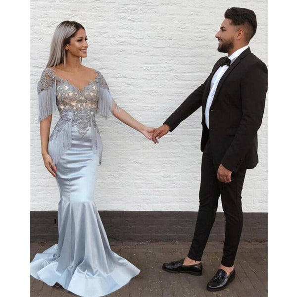 Unique Applique Mermaid Gorgeous Evening Long Prom Dresses, SG152
